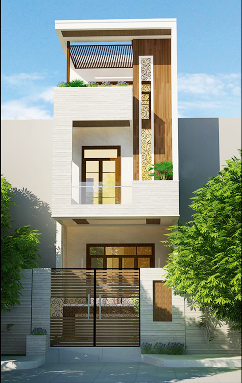 mẫu nhà phố 2 tầng 4 - Tổng hợp 4 mẫu nhà phố 2 tầng đẹp tối ưu công năng