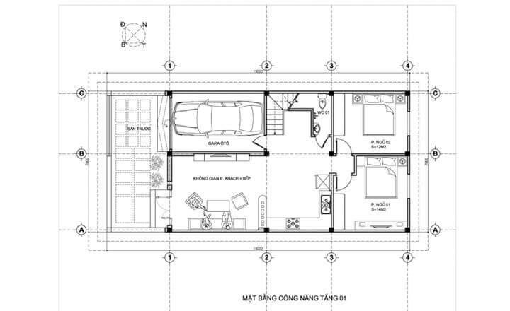mẫu nhà phố 2 tầng 7x15m 2 - Tổng hợp 4 mẫu nhà phố 2 tầng đẹp tối ưu công năng