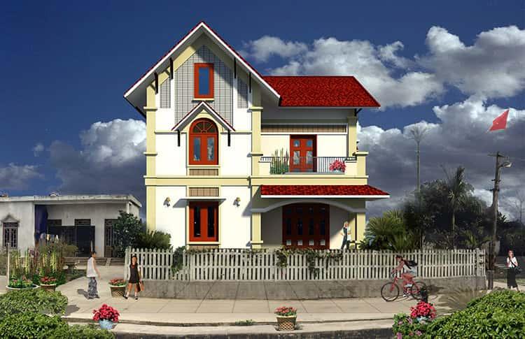 nha biet thu dep 2 tang 2 mat tien dien tich 10x12m - 45 Mẫu nhà 2 tầng mái ngói đẹp được nhiều kts lựa chọn thiết kế