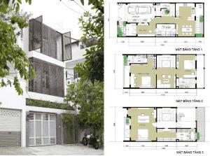 nha dep 3 tang 300x223 - Bản vẽ cad thiết kế nhà phố 3 tầng diện tích 5x8 lệch tầng