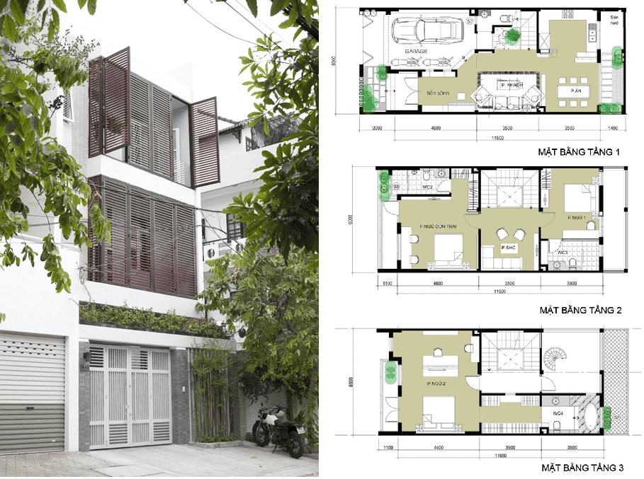 Bản vẽ cad thiết kế nhà phố 3 tầng diện tích 5×8 lệch tầng