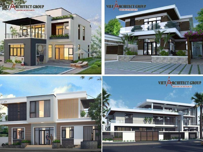 thiet ke biet thu 2 tang mai bang hien dai - Tổng hợp mẫu biệt thự 2 tầng mái bằng đẹp nhất hiện nay