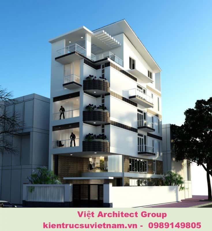 thiet ke nha 2 mat tien 4 735x800 - 20 mẫu biệt thự 5 tầng đẹp đa phong cách