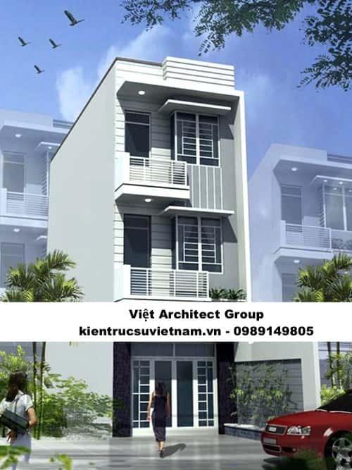 thiet ke nha 3 tang 1 - Bản vẽ cad thiết kế nhà phố 3 tầng diện tích 5x8 lệch tầng