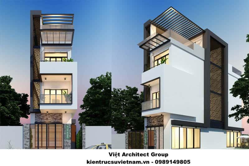 thiet ke nha 3 tang viet architect group - Biệt thự 3 tầng với kiến trúc hiện đại có nhiều cây xanh