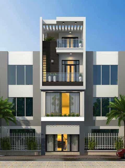 thiet ke nha 4 tang dep 1 - Thiết kế nhà 4 tầng đẹp