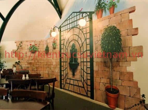 tranh tuong cafe vag 010 - Vẽ tranh tường quán Cafe 2d, 3d cực đẹp theo yêu cầu đảm bảo tiến độ