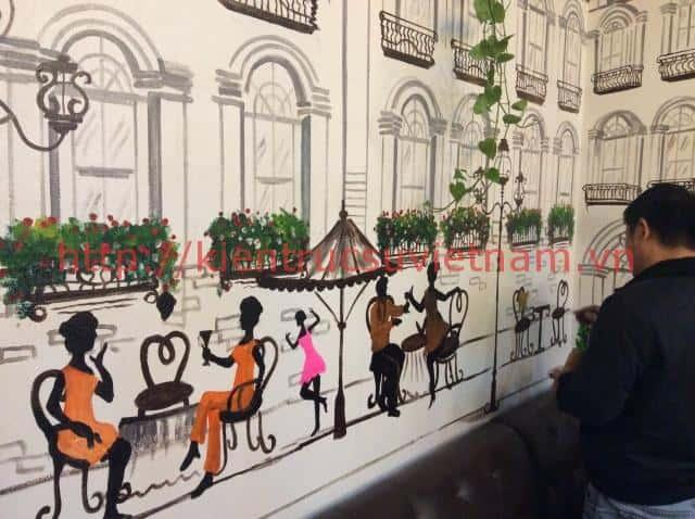 tranh tuong cafe vag 03 - Vẽ tranh tường quán Cafe 2d, 3d cực đẹp theo yêu cầu đảm bảo tiến độ
