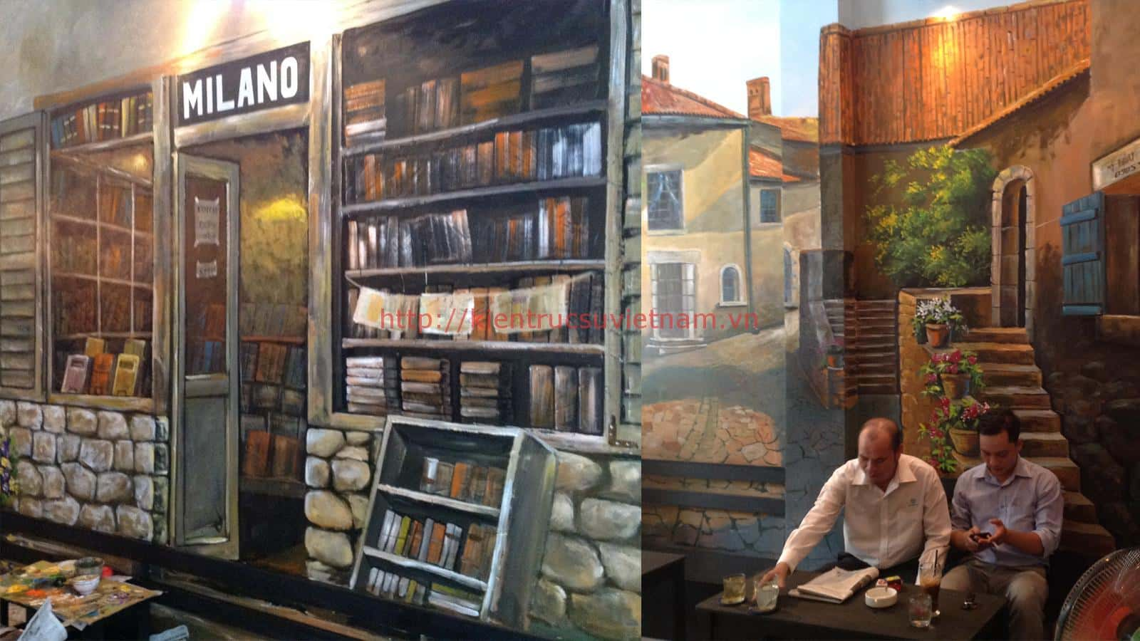 tranh tuong cafe vag 08 - Vẽ tranh tường quán Cafe