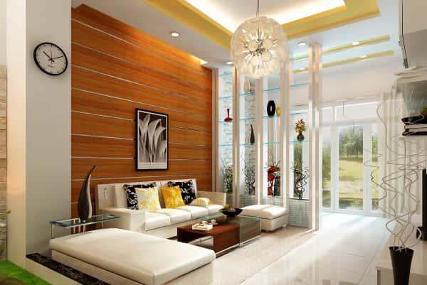 tuong go cho phong khach 2 - 100 mẫu biệt thự 3 tầng hiện đại đẹp nhất 2018