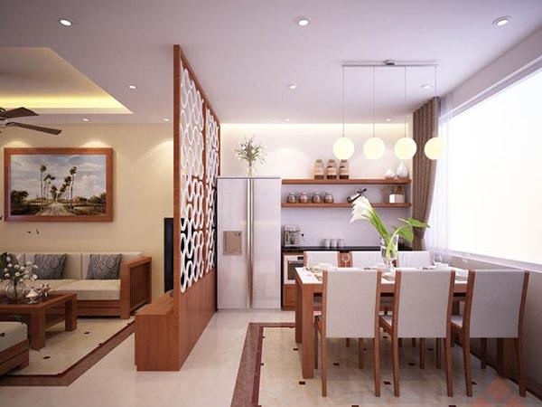 vách ngăn cho phòng khách và bếp. - 10 mẫu phòng khách liên thông với bếp đẹp ăn khách nhất hiện nay