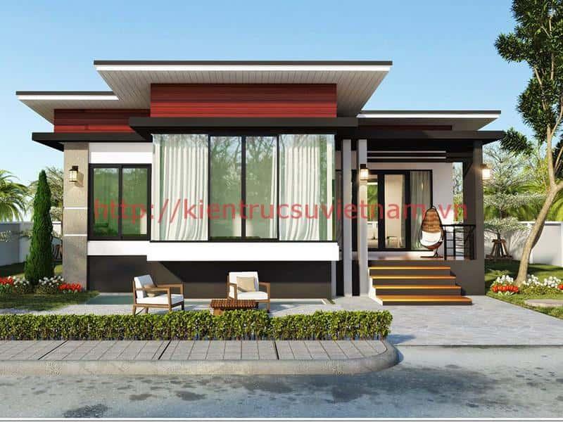 thiet ke nha 1 tang mai bang 3 - Tổng hợp các công trình nhà ở 1 tầng đẹp với 3 phòng ngủ