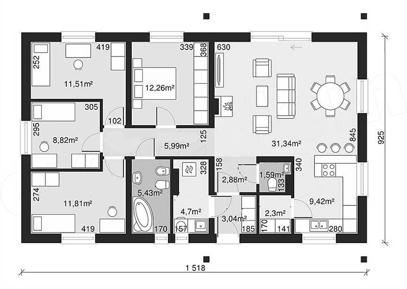 biệt thự 1 tầng 150m2