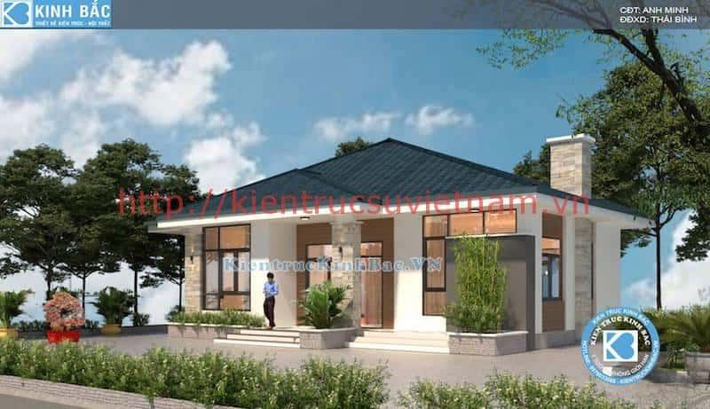 biet thu 1 tang dep mai doc - Thiết kế nhà 1 tầng đẹp