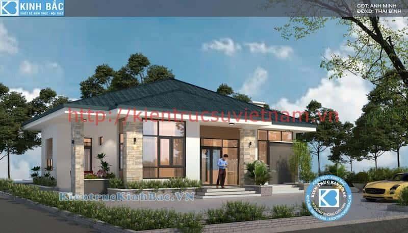 biet thu 1 tang dep mai thai - Thiết kế nhà 1 tầng đẹp