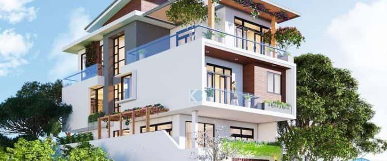 Thiết kế biệt thự 3 tầng hiện đại mặt phố đẹp diện tích 150m2