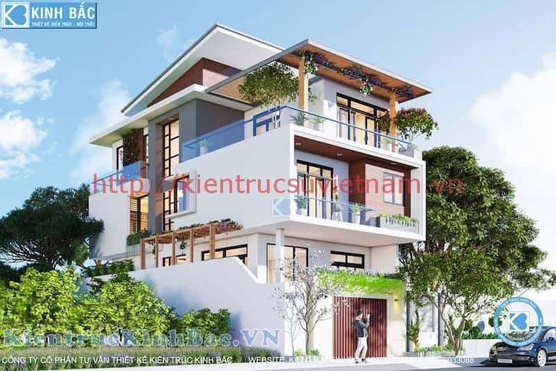 biet thu 3 tang dep - Biệt thự 3 tầng với kiến trúc hiện đại có nhiều cây xanh