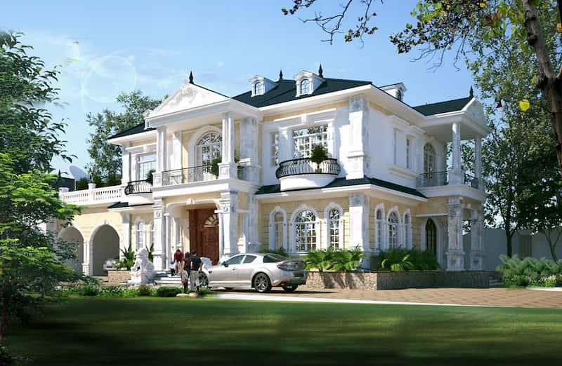 tang co dien 2 - Thiết kế biệt thự 2 tầng mái thái đẹp và chuyên nghiệp