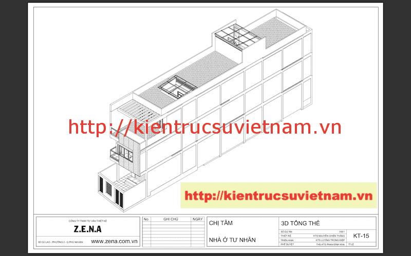 3D tong the - Công trình nhà phố 3 tầng kiến trúc hiện đại chị Tâm quận 9