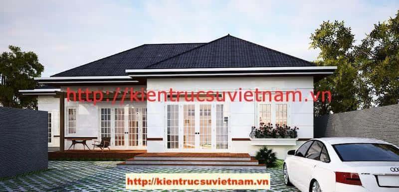 biet thu 1 tang dep 800x386 - Công trình biệt thự 1 tầng với 3 phòng ngủ Mr Hoàng, Bình Dương