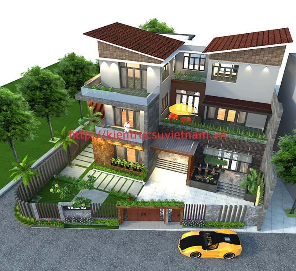 biet thu 3 tang hien dai quang binh - Biệt thự 3 tầng với kiến trúc hiện đại có nhiều cây xanh