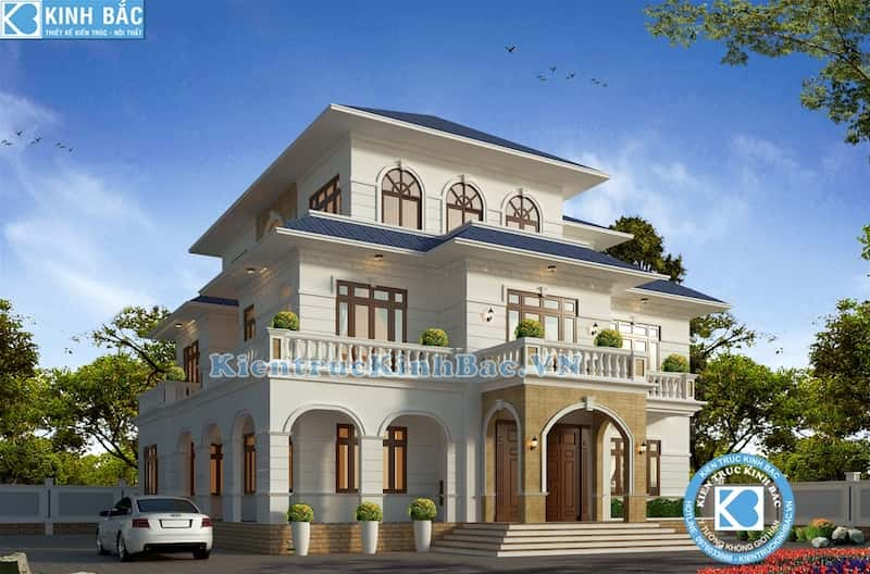 biet thu 3 tang tan co dien dep - Thiết kế biệt thự 3 tầng tân cổ điển Yên Bái