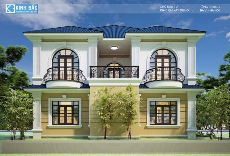 biet thu tan co dien 3 - Thiết kế biệt thự tân cổ điển 2 tầng ở Ba Vì đẹp