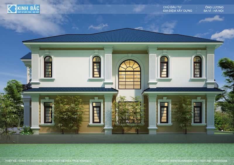 biet thu tan co dien - Thiết kế biệt thự tân cổ điển 2 tầng ở Ba Vì đẹp
