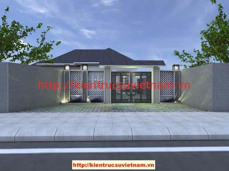 cong rao - Công trình biệt thự 1 tầng với 3 phòng ngủ Mr Hoàng, Bình Dương