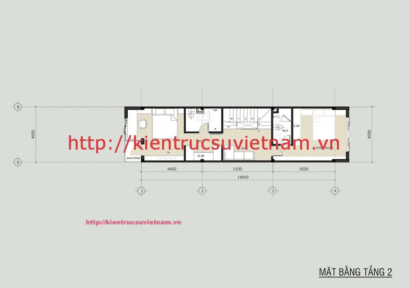 mat bang nha pho dep 2 tang tang2 - Thiết kế nhà phố 2 tầng có sân thượng gia đình chị Phương Anh