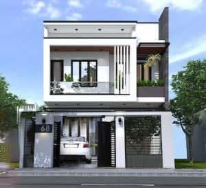 nha pho 2 tang 300x274 - Ngôi nhà phố 2 tầng ấn tượng với mặt tiền 7.5m với 3 phòng ngủ