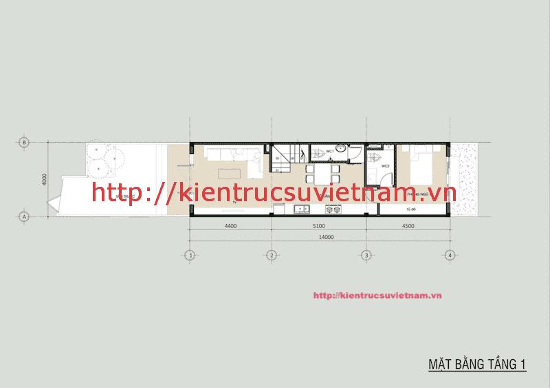 nha pho dep 2 tang mat bang tang 1 - Thiết kế nhà phố 2 tầng có sân thượng gia đình chị Phương Anh