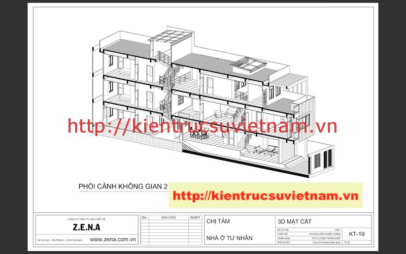 phoi canh không gian - Công trình nhà phố 3 tầng kiến trúc hiện đại chị Tâm quận 9