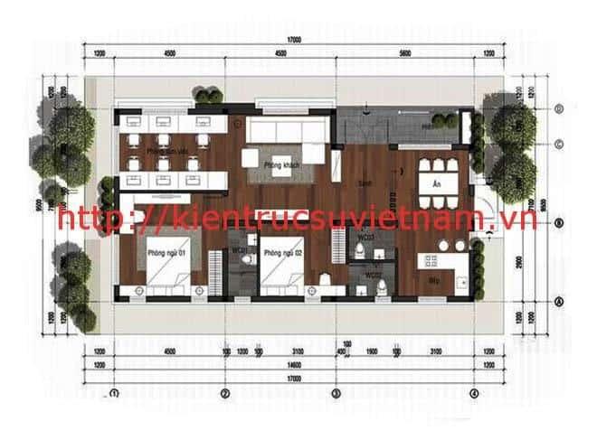 thiet ke biet thu vuon 100m2 mat bang - Thiết kế biệt thự vườn 100m2 đẹp với 3 phòng ngủ
