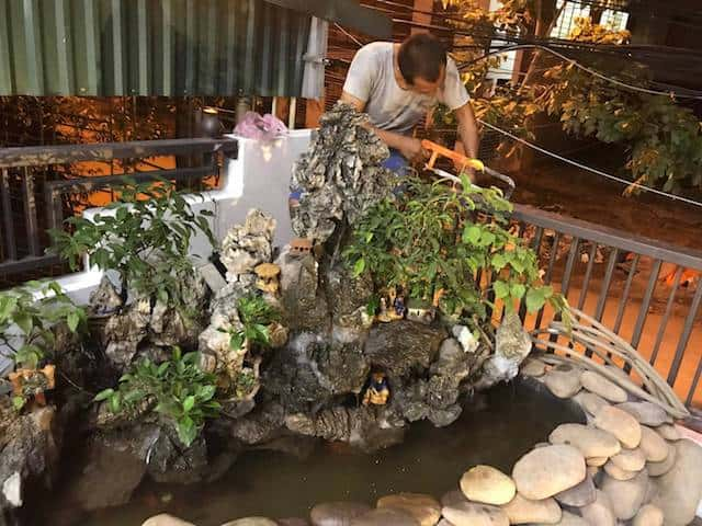 xay nha 4 tang 1 - Xây nhà 4 tầng dành riêng tầng 2 làm tiểu cảnh bonsai cực chất