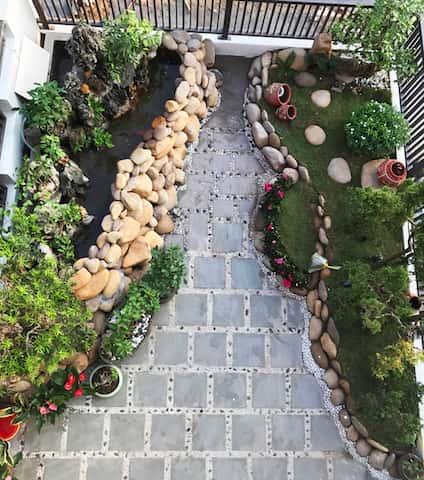 xay nha 4 tang 10 - Xây nhà 4 tầng dành riêng tầng 2 làm tiểu cảnh bonsai cực chất