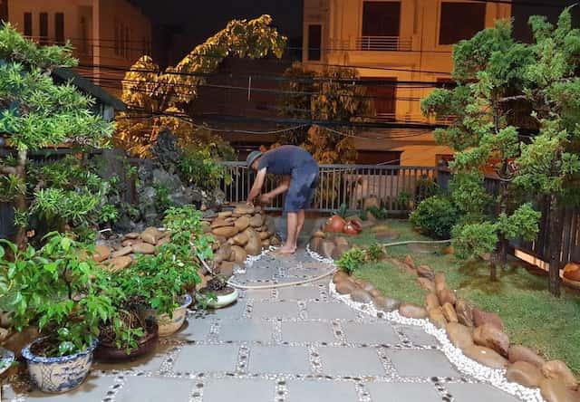 xay nha 4 tang 9 - Xây nhà 4 tầng dành riêng tầng 2 làm tiểu cảnh bonsai cực chất