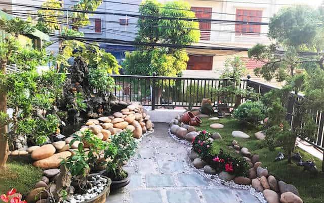 xay nha 4 tang - Xây nhà 4 tầng dành riêng tầng 2 làm tiểu cảnh bonsai cực chất
