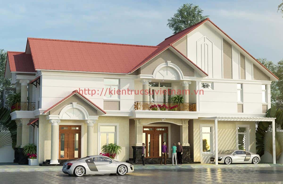 1 - Công trình biệt thự 2 tầng mái thái đẹp sang trọng