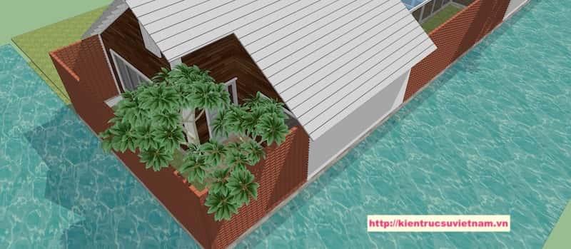 12 - Thiết kế biệt thự 1 tầng 3 phòng ngủ đẹp gia đình chị Tuyết Bến Tre