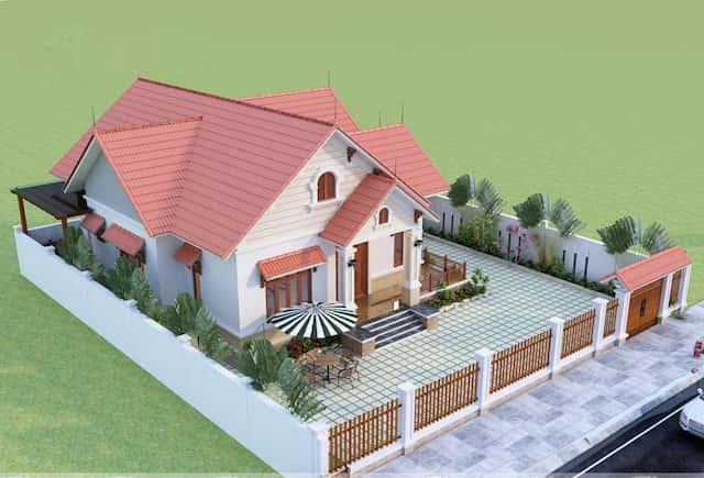 biet thu 1 tang 3 1 - Công trình biệt thự sân vườn 1 tầng 3 phòng ngủ với 140m2 đẹp