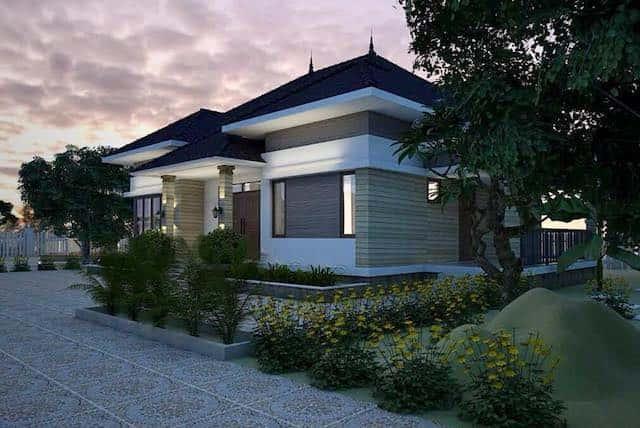 biet thu 1 tang 4 - Công trình biệt thự 1 tầng sân vườn đẹp kiến trúc mái thái