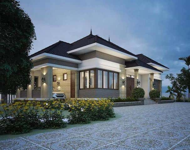biet thu 1 tang mai thai 3 - Công trình biệt thự 1 tầng sân vườn đẹp kiến trúc mái thái