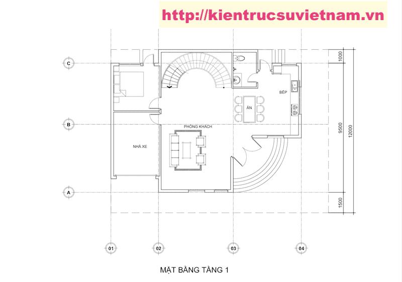 biet thu 2 tang 1 - Thiết kế biệt thự hiện đại 2 tầng gia đình a Viên Quảng Bình