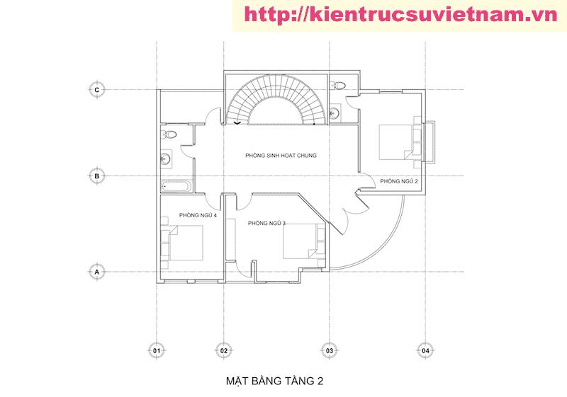 biet thu 2 tang 2 - Thiết kế biệt thự hiện đại 2 tầng gia đình a Viên Quảng Bình