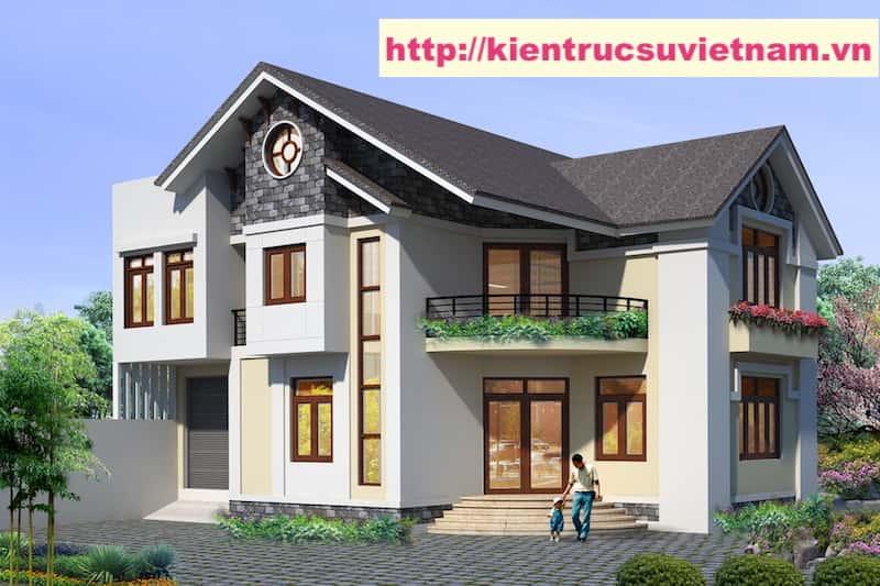 biet thu 2 tang NHA MR VIEN - Thiết kế biệt thự hiện đại 2 tầng gia đình a Viên Quảng Bình