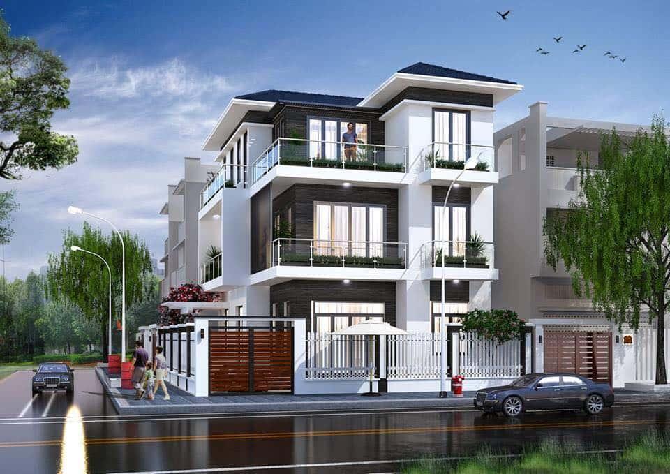 biet thu 3 tang mai thai hien dai goc pho - Dự án biệt thự 3 tầng góc phố 2 mặt tiền đẹp, chất
