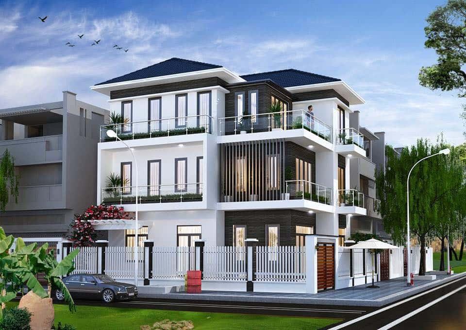 biet thu 3 tang mai thai hien dai - Dự án biệt thự 3 tầng góc phố 2 mặt tiền đẹp, chất