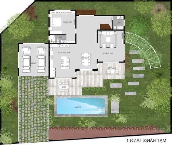 biet thu hien dai 2 tang mai bang 3 - Công trình thiết kế biệt thự 2 tầng mái bằng hiện đại