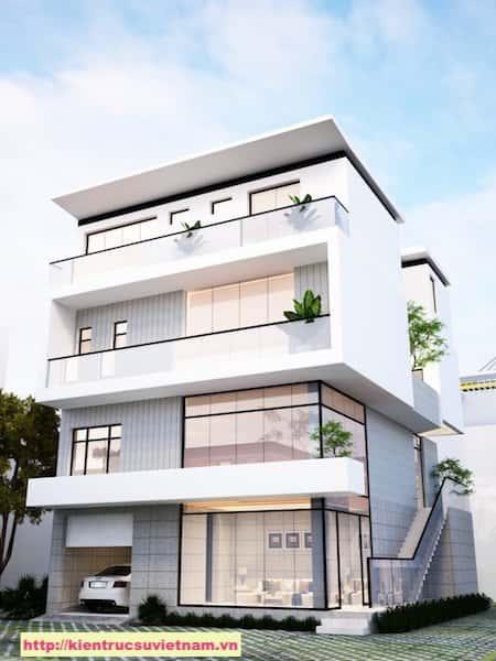 biet thu hien dai 3 tang NHA MS TUYET 1 - Thiết kế biệt thự hiện đại 4 tầng gia đình chị Tuyết quận 2, TPHCM